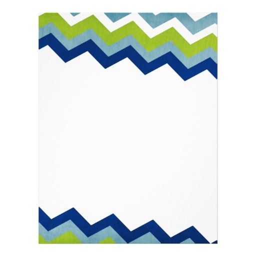 Modelo de zigzag azul y verde membrete a diseño