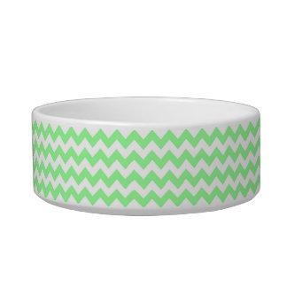 Modelo de zigzag blanco de Chevron de la verde Tazón Para Gato