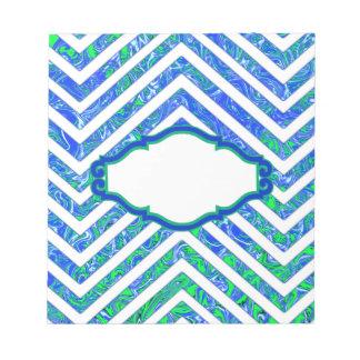 Modelo de zigzag blanco de Chevron del verde azul Bloc