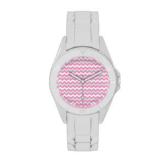 Modelo de zigzag blanco de Chevron y gris rosado Relojes