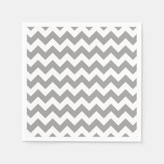 Modelo de zigzag blanco gris oscuro de Chevron Servilleta De Papel