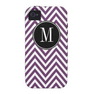 Modelo de zigzag blanco púrpura de Chevron del mon Vibe iPhone 4 Fundas