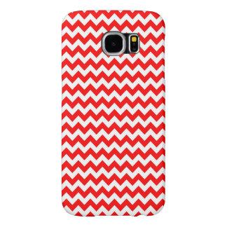 Modelo de zigzag blanco rojo brillante de Chevron Fundas Samsung Galaxy S6