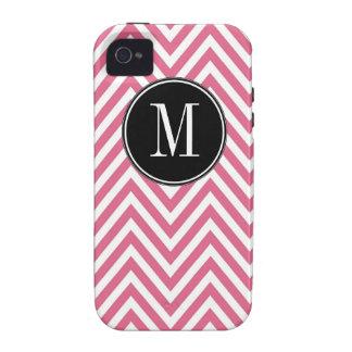 Modelo de zigzag blanco rosado con monograma de Ch Case-Mate iPhone 4 Fundas