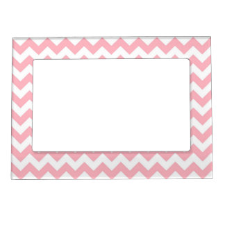 Modelo de zigzag blanco rosado de Chevron Marcos Magneticos Para Fotos