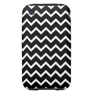 Modelo de zigzag blanco y negro iPhone 3 tough carcasas