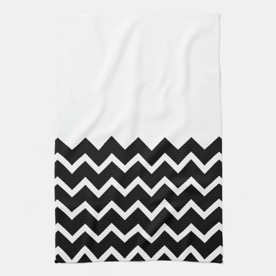 Modelo de zigzag blanco y negro. Llano de la parte Toalla De Cocina