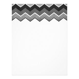 Modelo de zigzag blanco y negro membrete a diseño
