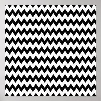 Modelo de zigzag blanco y negro póster