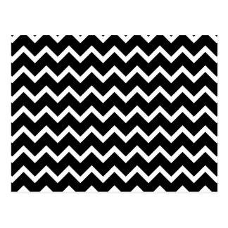 Modelo de zigzag blanco y negro tarjetas postales