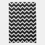 Modelo de zigzag blanco y negro toallas de cocina