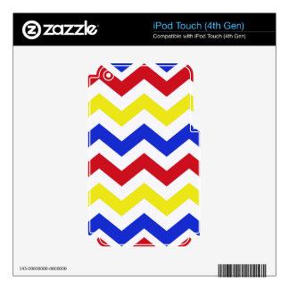 Modelo de zigzag coloreado náutico skins para iPod touch 4G