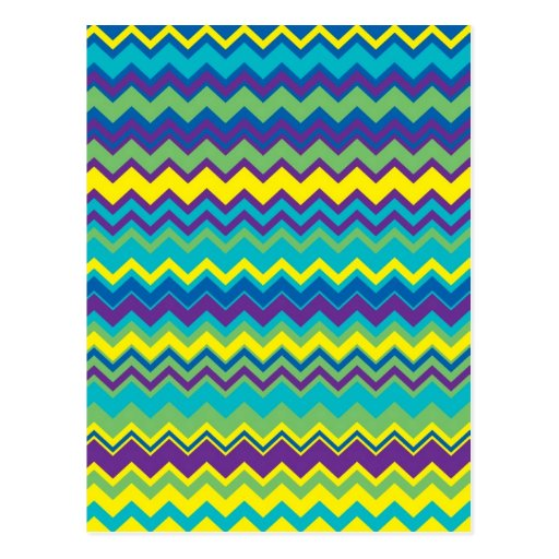 Modelo de zigzag colorido de Chevron Tarjetas Postales