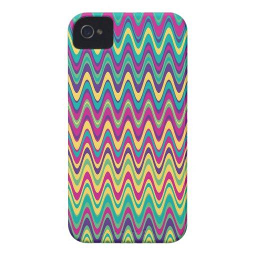 Modelo de zigzag colorido de la onda iPhone 4 Case-Mate protector