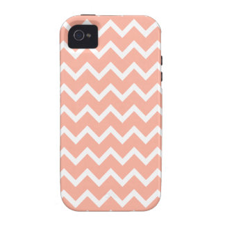 Modelo de zigzag coralino y blanco iPhone 4/4S funda