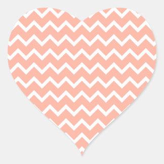 Modelo de zigzag coralino y blanco colcomanias de corazon personalizadas