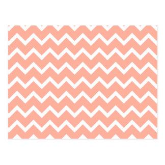 Modelo de zigzag coralino y blanco postales
