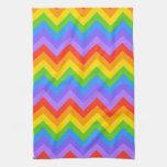 Modelo de zigzag del arco iris toalla de cocina