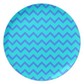 Modelo de zigzag del azul y del trullo plato