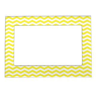 Modelo de zigzag fino blanco amarillo de Chevron Marcos Magnéticos De Fotos
