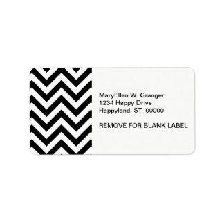 Modelo de zigzag grande blanco y negro de Chevron Etiqueta De Dirección