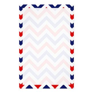Modelo de zigzag grande rojo, blanco, azul de  papeleria