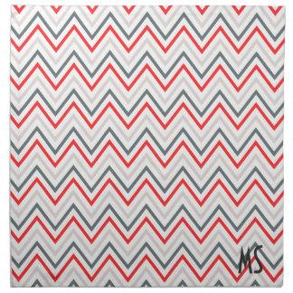 Modelo de zigzag gris blanco rojo de Chevron Servilleta