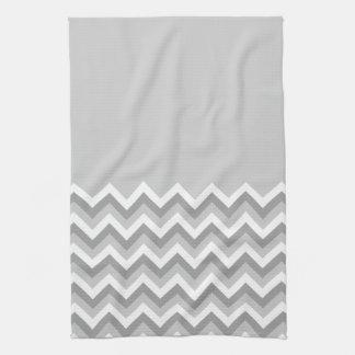 Modelo de zigzag gris y blanco Gris llano de la p Toallas De Cocina