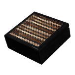 Modelo de zigzag negro del cuero y de madera caja de regalo