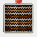 Modelo de zigzag negro del cuero y de madera adornos de navidad