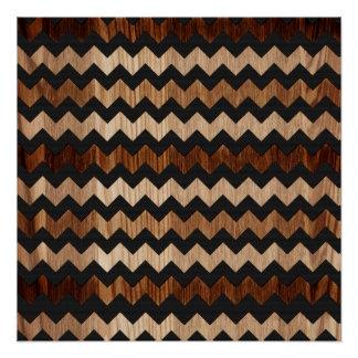 Modelo de zigzag negro del cuero y de madera perfect poster