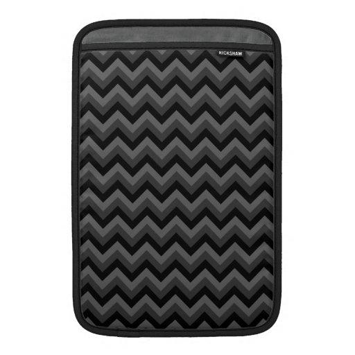 Modelo de zigzag negro y gris fundas para macbook air