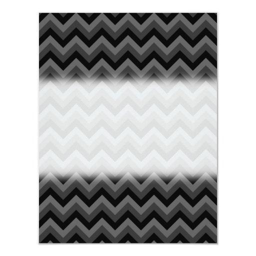 """Modelo de zigzag negro y gris invitación 4.25"""" x 5.5"""""""