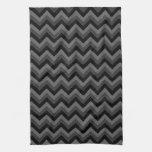 Modelo de zigzag negro y gris toallas de mano