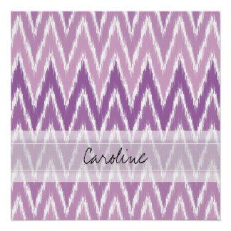 Modelo de zigzag púrpura de Ombre Ikat Chevron del Perfect Poster