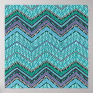 Modelo de zigzag púrpura del trullo femenino póster
