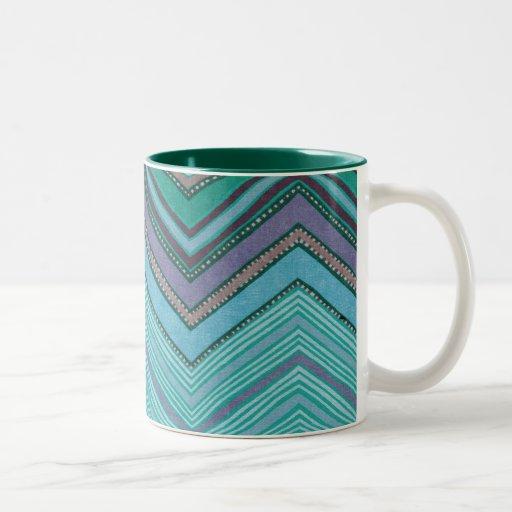 Modelo de zigzag púrpura del trullo femenino taza de dos tonos