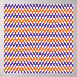Modelo de zigzag púrpura y anaranjado intrépido de póster