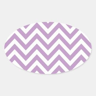 Modelo de zigzag purpúreo claro y blanco pegatina de ovaladas