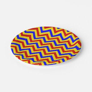 Modelo de zigzag rojo, amarillo, azul de LG Plato De Papel De 7 Pulgadas