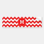 Modelo de zigzag rojo con monograma etiqueta de parachoque