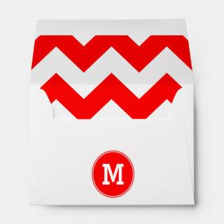 Modelo de zigzag rojo con monograma sobres