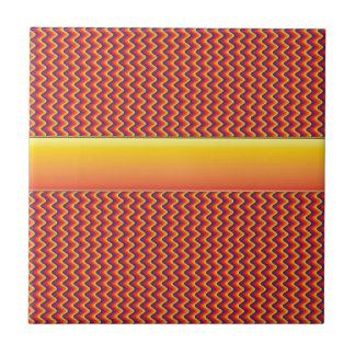 Modelo de zigzag rojo y amarillo azulejo cuadrado pequeño