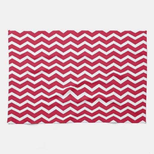 Modelo de zigzag rojo y blanco intrépido de Chevro Toallas De Mano