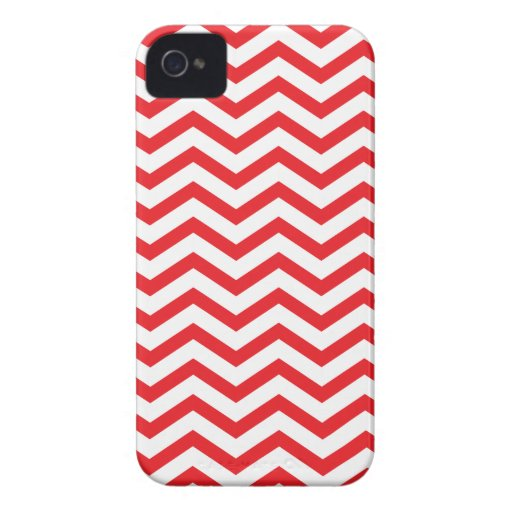 Modelo de zigzag rojo y blanco iPhone 4 funda
