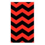 Modelo de zigzag rojo y negro tarjetas de visita