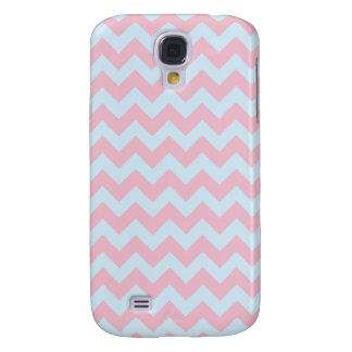 Modelo de zigzag rosado y azul claro samsung galaxy s4 cover