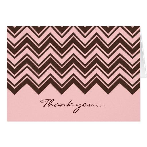 Modelo de zigzag rosado y marrón tarjeta pequeña