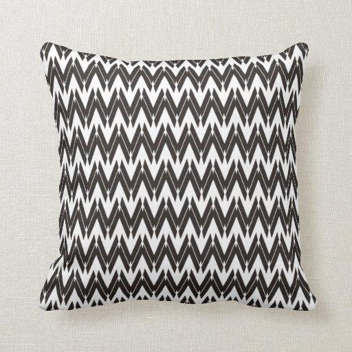Modelo de zigzag único blanco negro - almohada