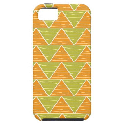 Modelo de zigzag verde anaranjado moderno del triá iPhone 5 coberturas
